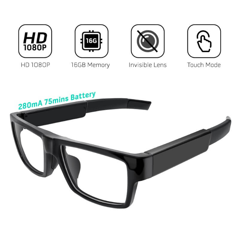 Full HD 1080P Eyeglasses Mini DVR with 16GB built in memory