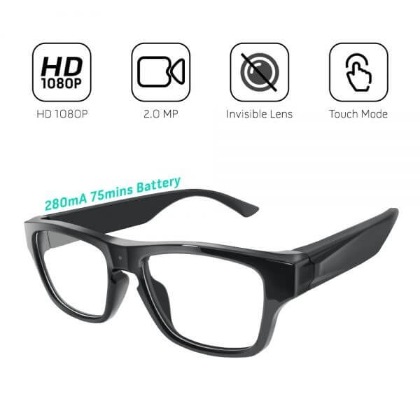 1080P Glasses Mini DVR with 2 batteries