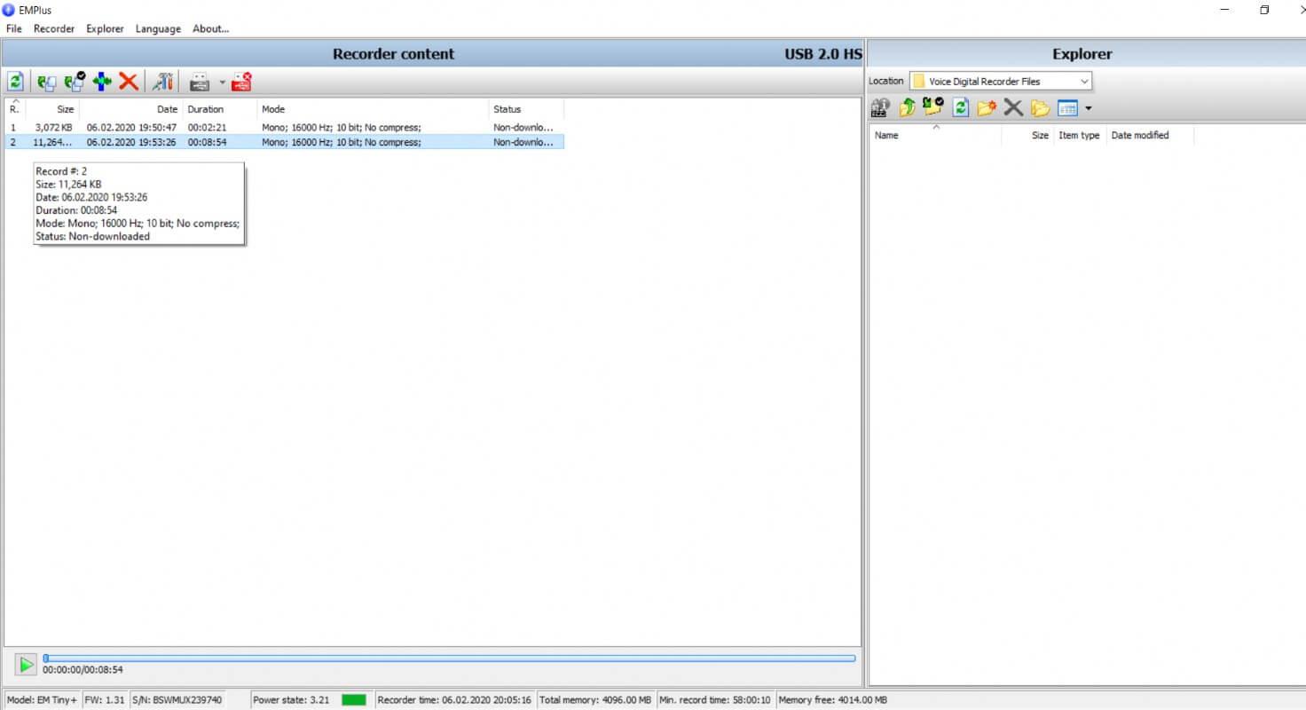 Digital Voice Recorder Edic mini Tiny Plus B80 150 HQ