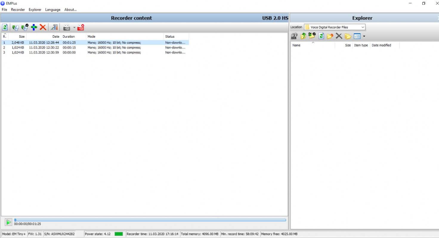Edic mini Tiny Plus A75 150 HQ Digital Voice Recorder