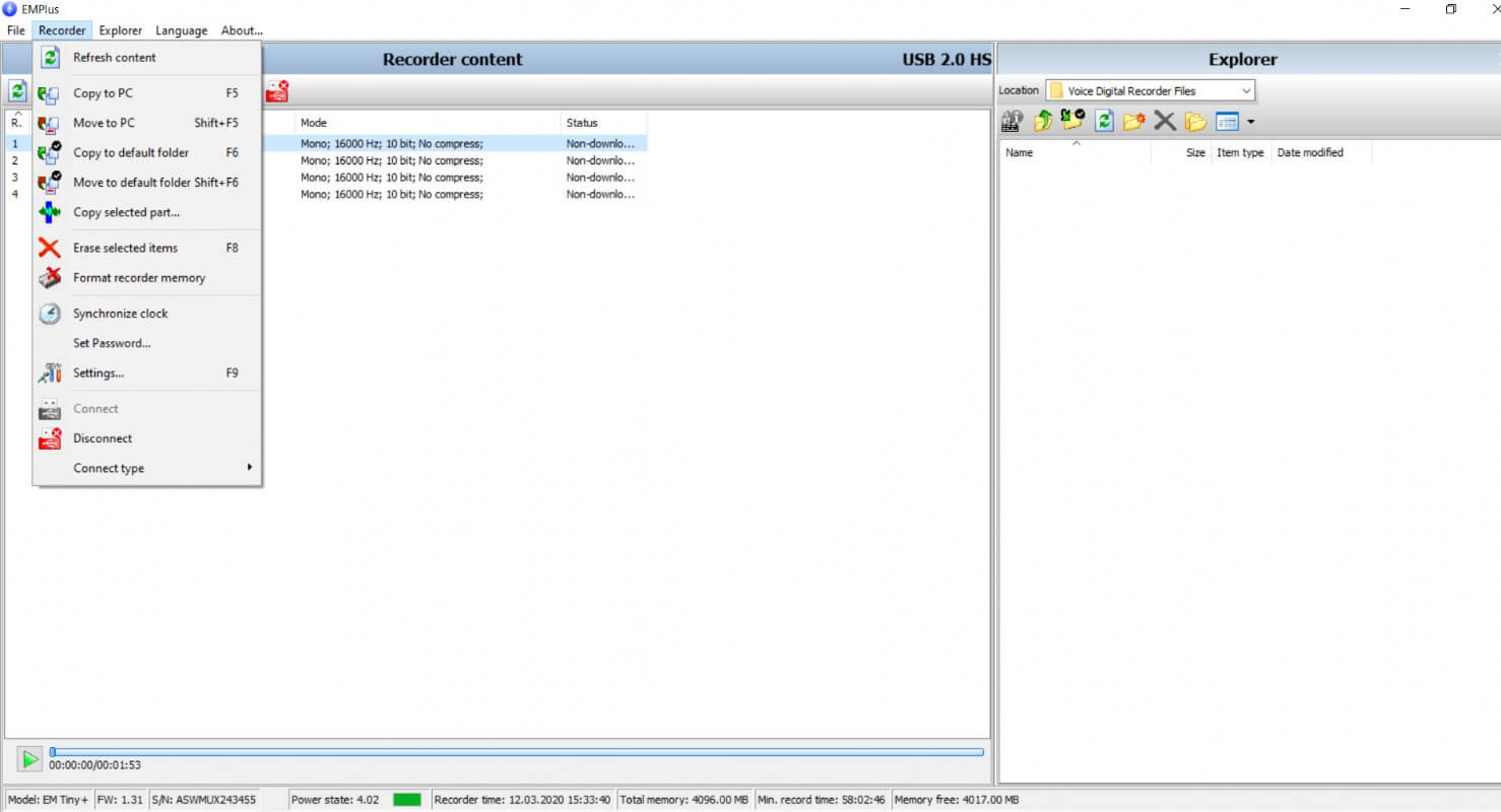 Edic mini Tiny Plus A83 150 HQ Digital Voice Recorder