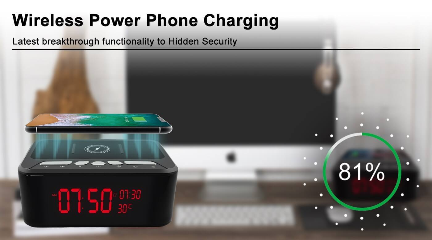 HD 1080P Wireless Charger and Speaker Security Wi-Fi Camera