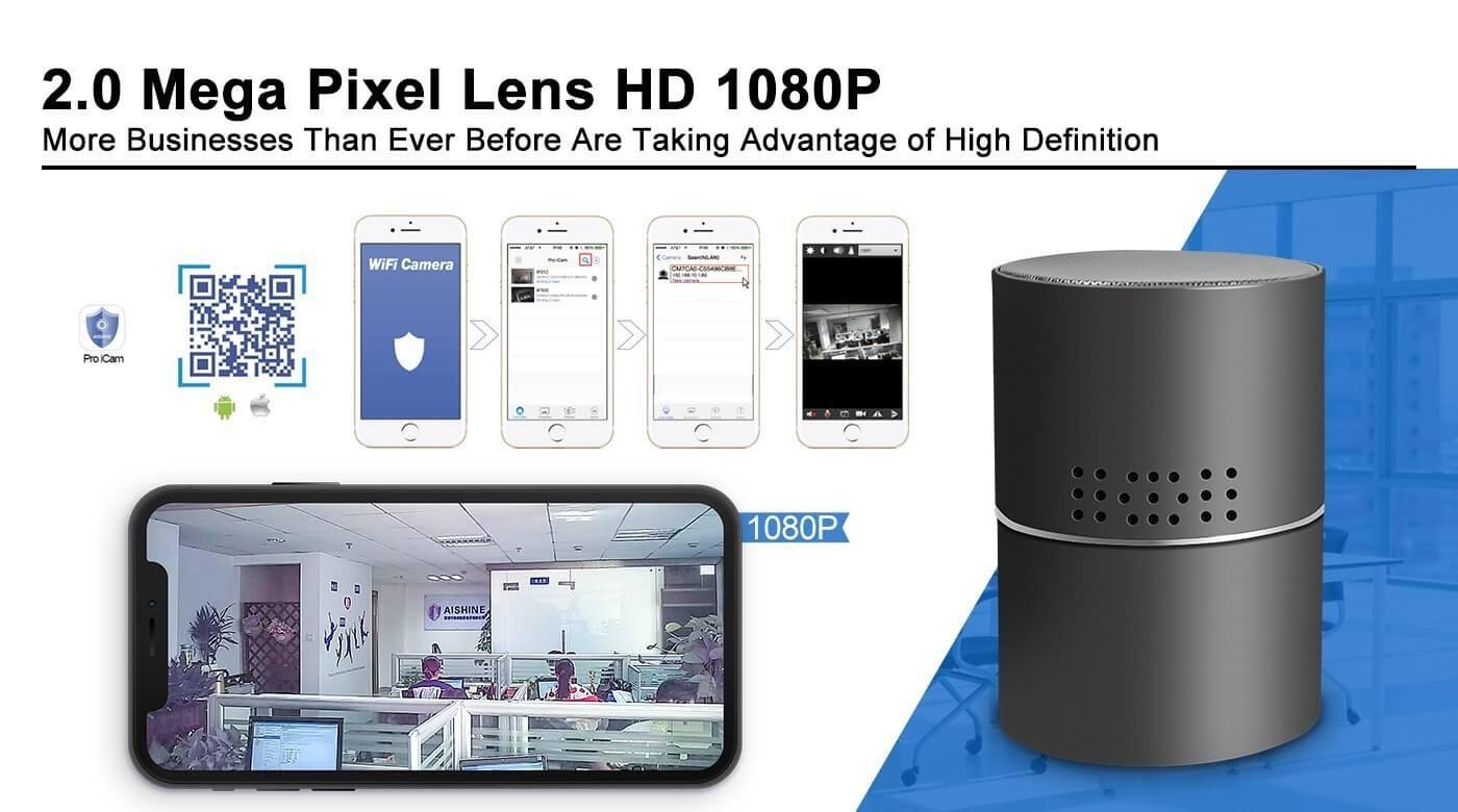 Stereo Bluetooth Speaker Wi-Fi 1080 P Hidden Camera